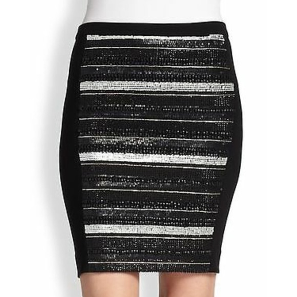 86aae5ccdc Haute Hippie Striped Sequined Stretch Knit Skirt